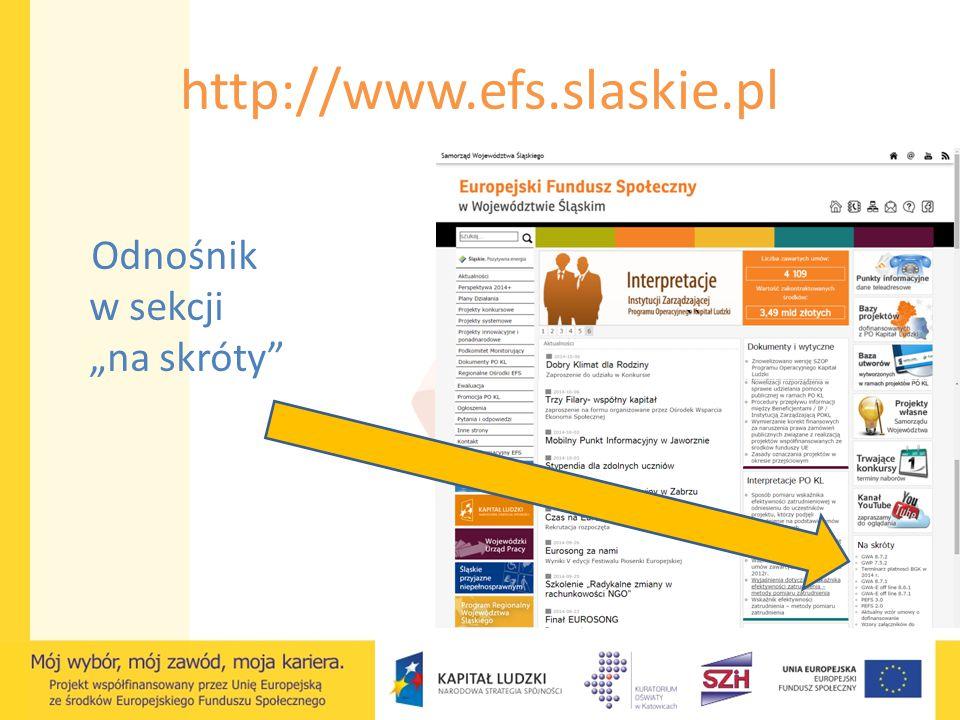 """http://www.efs.slaskie.pl `` Odnośnik w sekcji """"na skróty"""""""