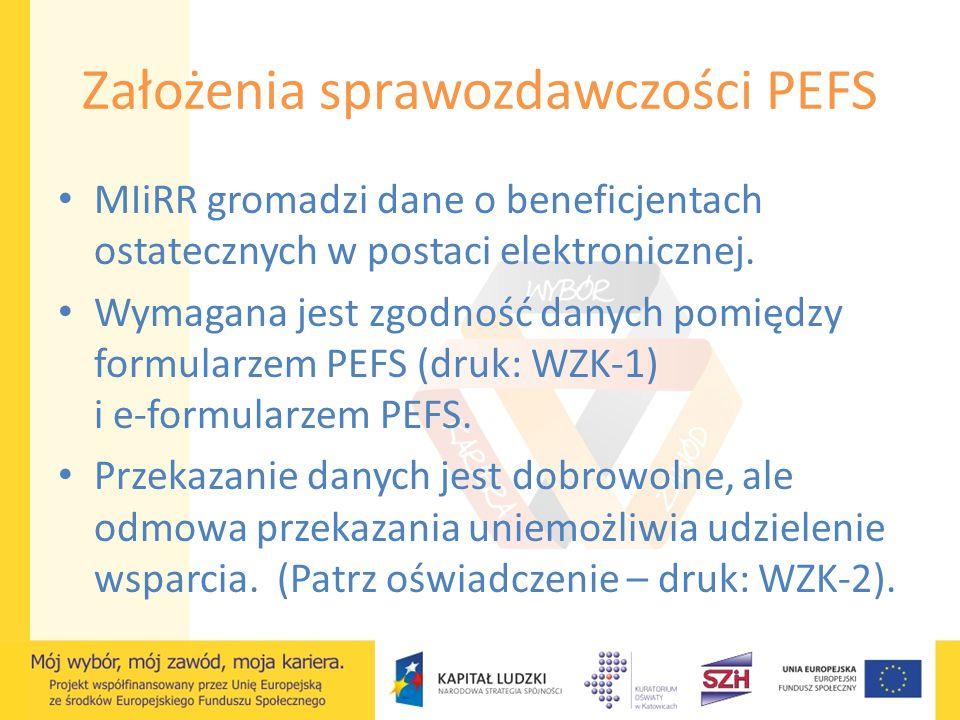 Założenia sprawozdawczości PEFS MIiRR gromadzi dane o beneficjentach ostatecznych w postaci elektronicznej. Wymagana jest zgodność danych pomiędzy for