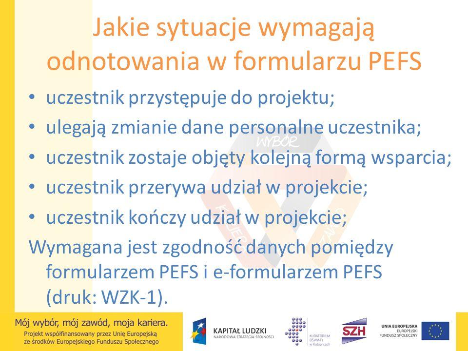 Jakie sytuacje wymagają odnotowania w formularzu PEFS uczestnik przystępuje do projektu; ulegają zmianie dane personalne uczestnika; uczestnik zostaje