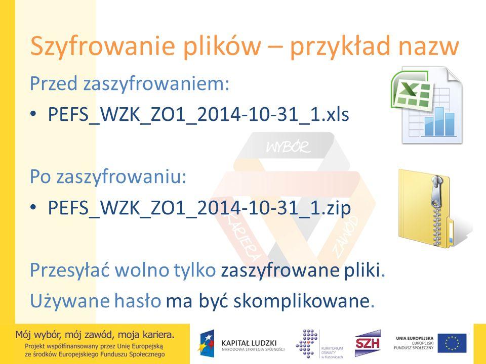 Szyfrowanie plików – przykład nazw Przed zaszyfrowaniem: PEFS_WZK_ZO1_2014-10-31_1.xls Po zaszyfrowaniu: PEFS_WZK_ZO1_2014-10-31_1.zip Przesyłać wolno
