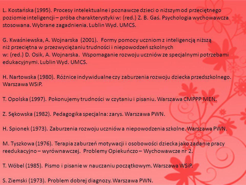 L. Kostańska (1995). Procesy intelektualne i poznawcze dzieci o niższym od przeciętnego poziomie inteligencji – próba charakterystyki w: (red.) Z. B.
