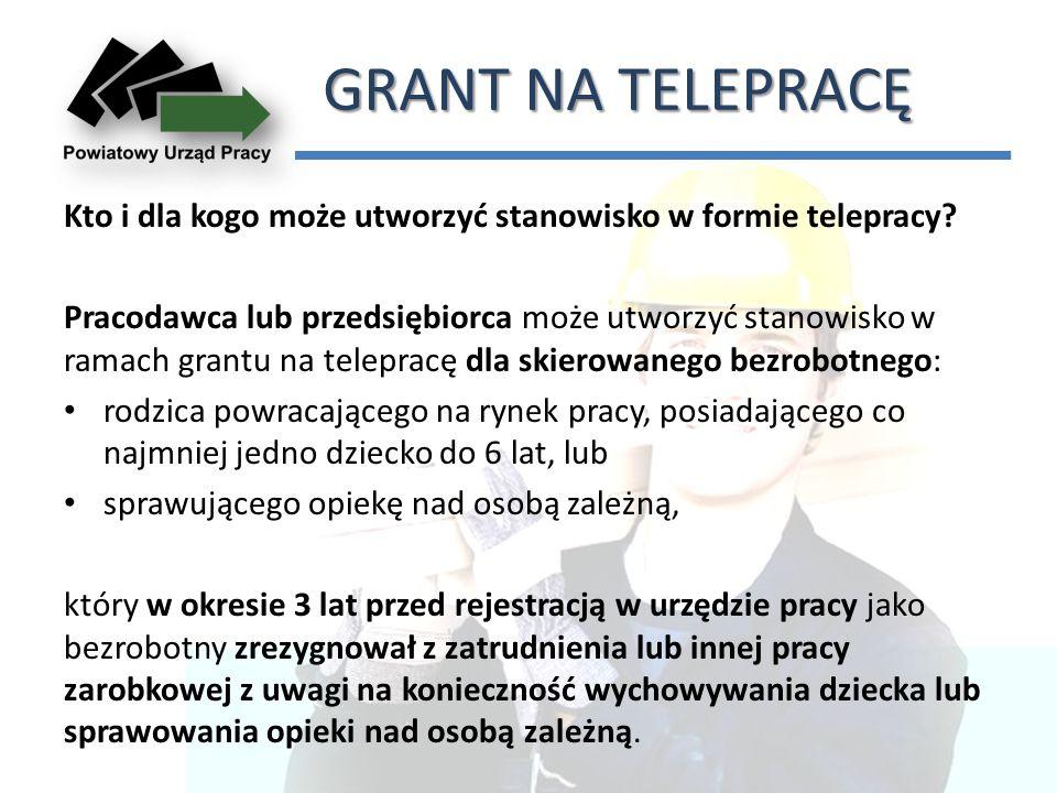 GRANT NA TELEPRACĘ Kto i dla kogo może utworzyć stanowisko w formie telepracy.