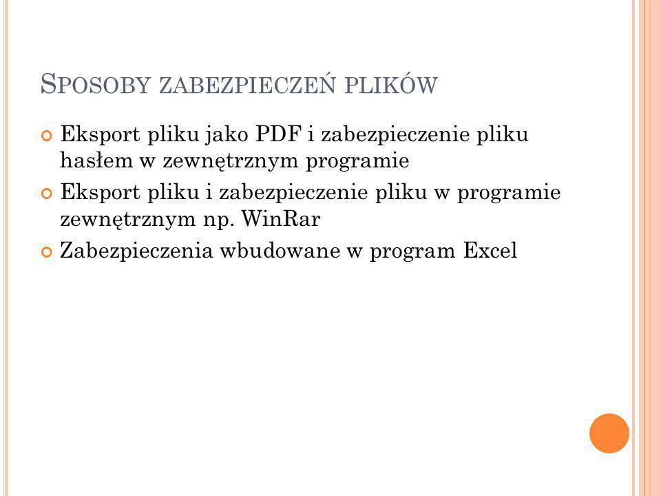 S POSOBY ZABEZPIECZEŃ PLIKÓW Eksport pliku jako PDF i zabezpieczenie pliku hasłem w zewnętrznym programie Eksport pliku i zabezpieczenie pliku w programie zewnętrznym np.