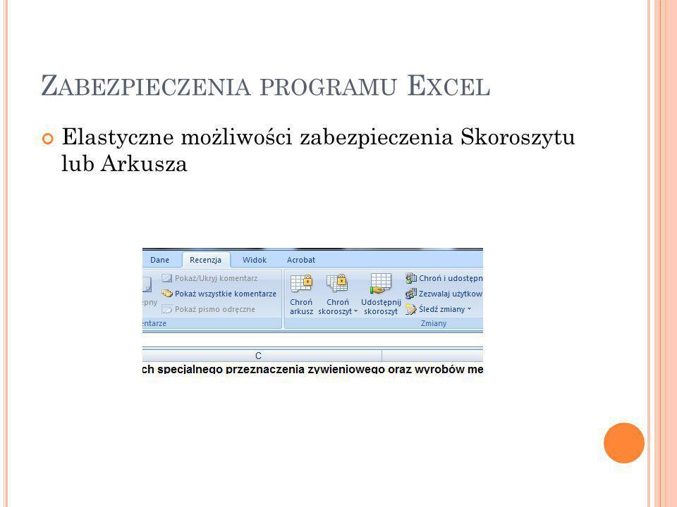 Z ABEZPIECZENIA PROGRAMU E XCEL Elastyczne możliwości zabezpieczenia Skoroszytu lub Arkusza