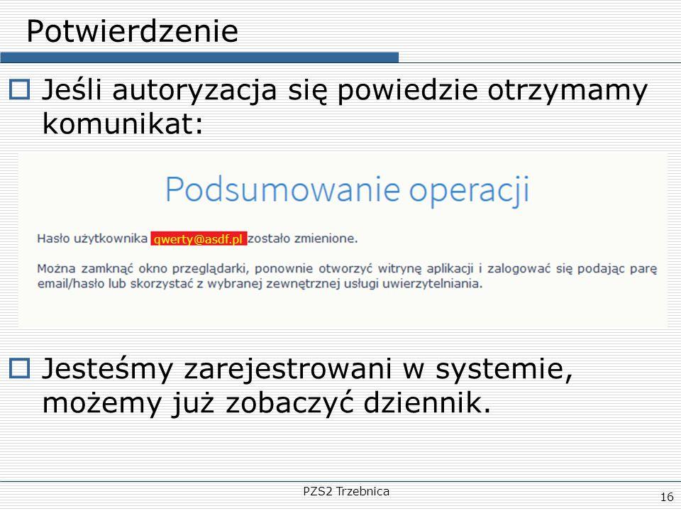 PZS2 Trzebnica 16 Potwierdzenie  Jeśli autoryzacja się powiedzie otrzymamy komunikat:  Jesteśmy zarejestrowani w systemie, możemy już zobaczyć dzien