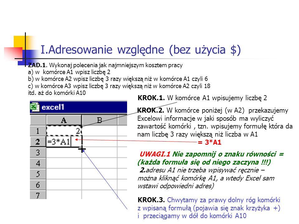 I.Adresowanie względne (bez użycia $) ZAD.1.