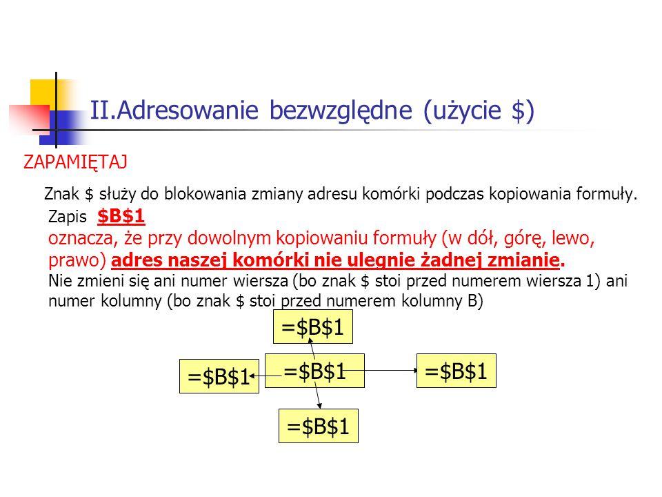 II.Adresowanie bezwzględne (użycie $) ZAPAMIĘTAJ Znak $ służy do blokowania zmiany adresu komórki podczas kopiowania formuły.