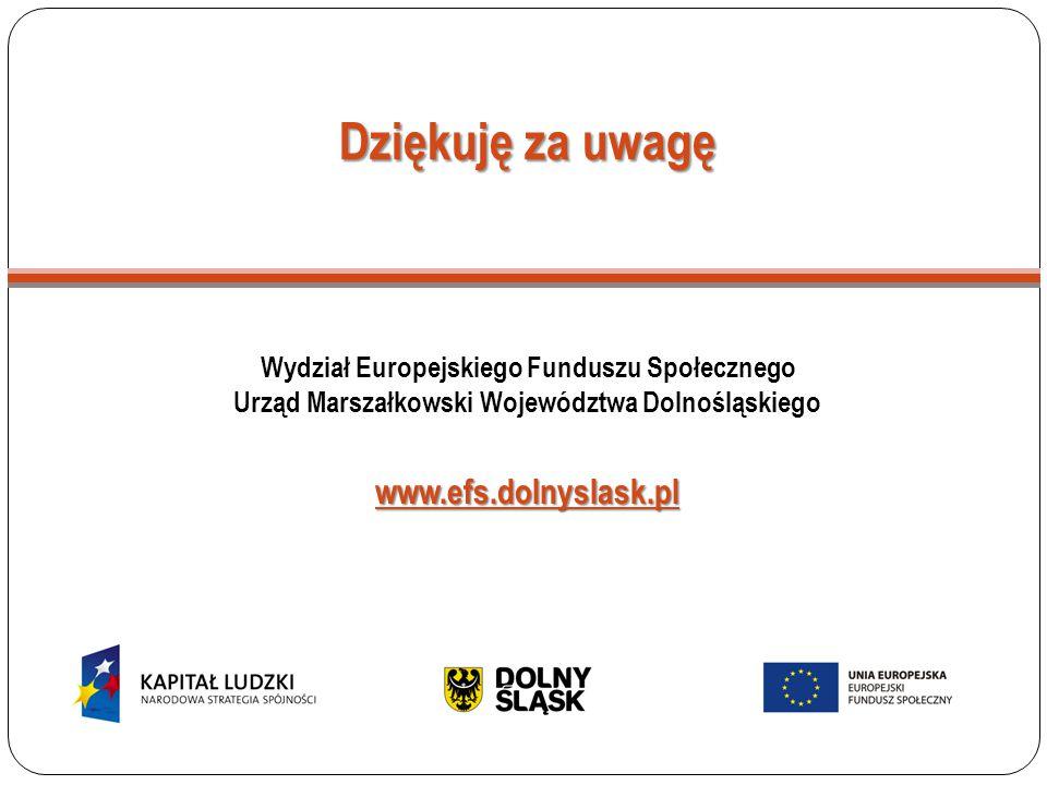 Dziękuję za uwagę Wydział Europejskiego Funduszu Społecznego Urząd Marszałkowski Województwa Dolnośląskiegowww.efs.dolnyslask.pl