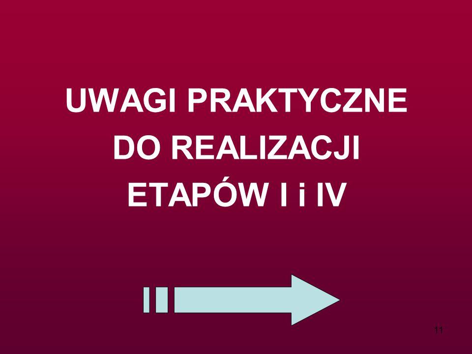 11 UWAGI PRAKTYCZNE DO REALIZACJI ETAPÓW I i IV