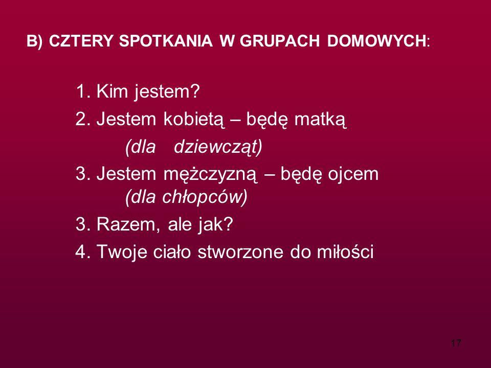 17 B) CZTERY SPOTKANIA W GRUPACH DOMOWYCH: 1. Kim jestem.