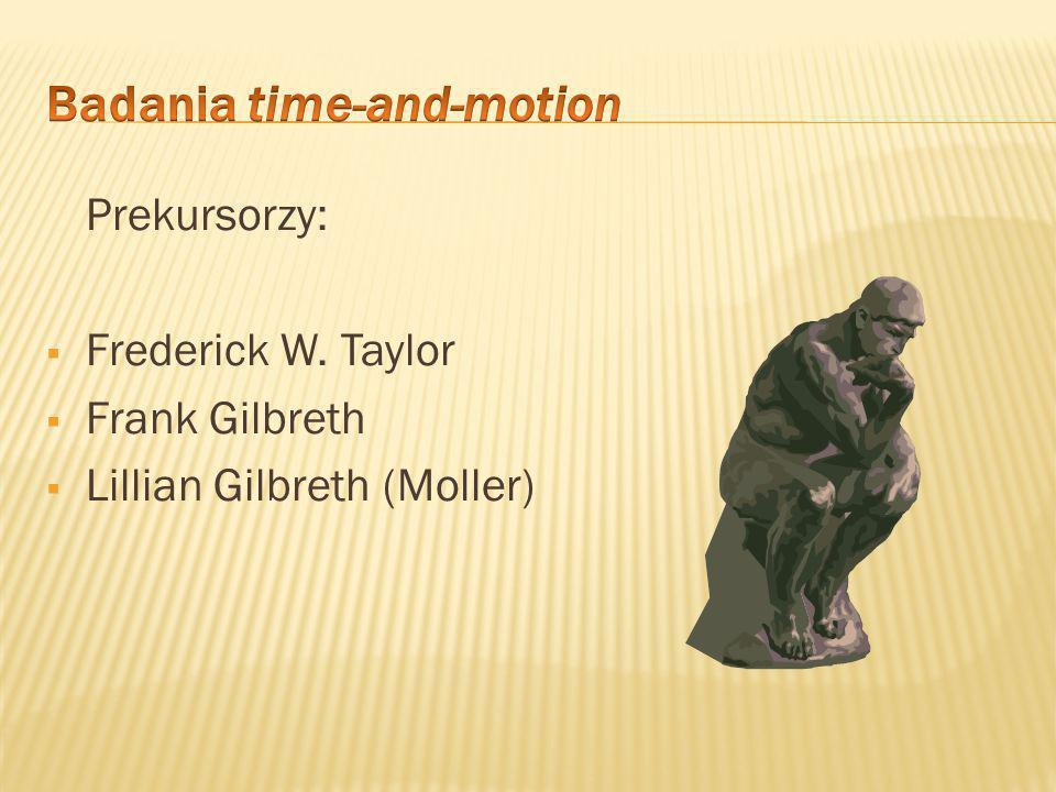  Badania time-and-motion – pierwsze próby nowego podejścia do projektowania narzędzi pracy i sposobu wykonywania pracy zrutynizowanej i powtarzającej się.