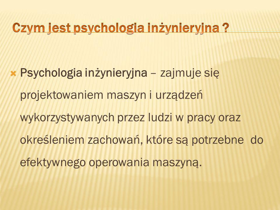  Psychologia inżynieryjna nazywana jest Humanistyczną inżynierią a także Ergonomią.