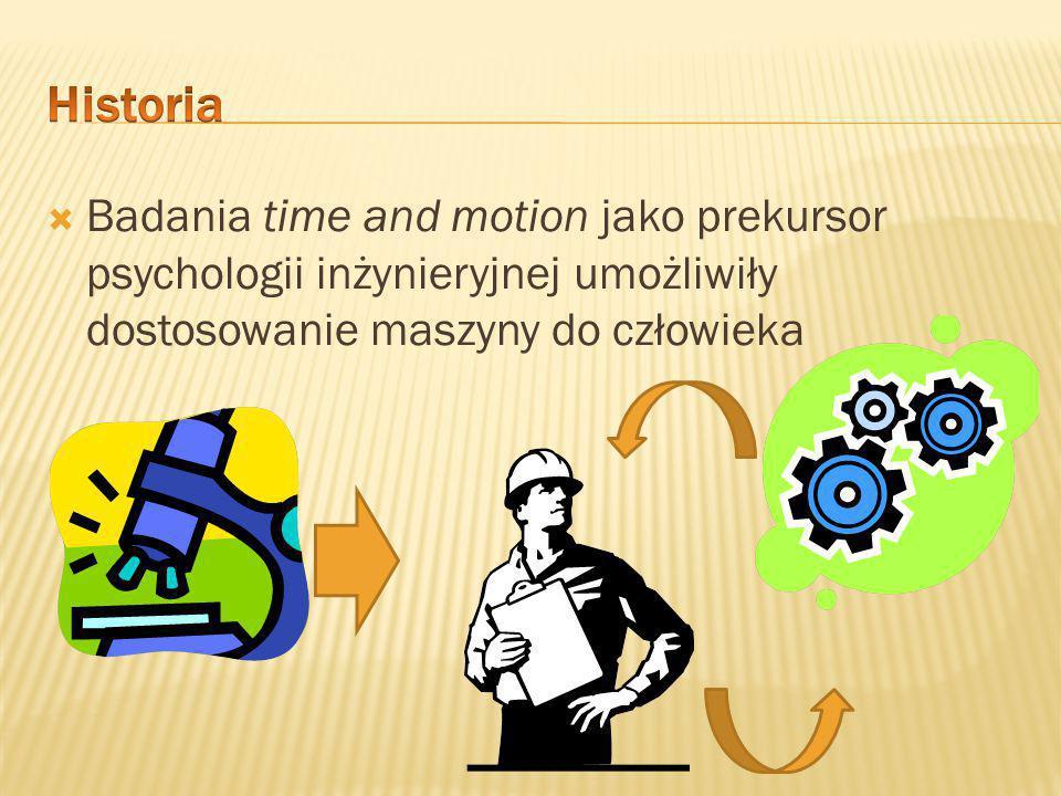  Lata 40 XX w. początkiem myśli psychologii inżynieryjnej (do tego czasu maszyny i urządzenia były projektowane bez wiązania ich funkcji obsługowych