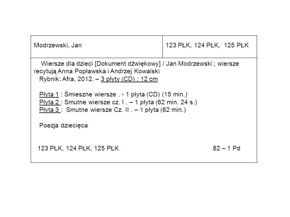 Modrzewski, Jan123 PŁK, 124 PŁK, 125 PŁK Wiersze dla dzieci [Dokument dźwiękowy] / Jan Modrzewski ; wiersze recytują Anna Popławska i Andrzej Kowalski