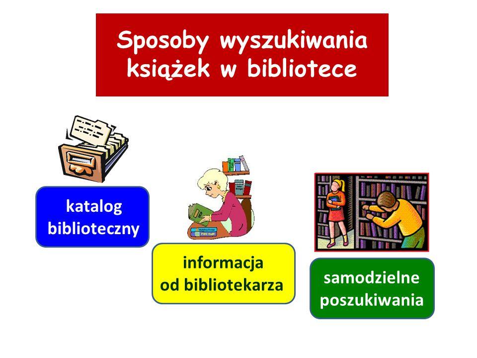Sposoby wyszukiwania książek w bibliotece samodzielne poszukiwania informacja od bibliotekarza katalog biblioteczny