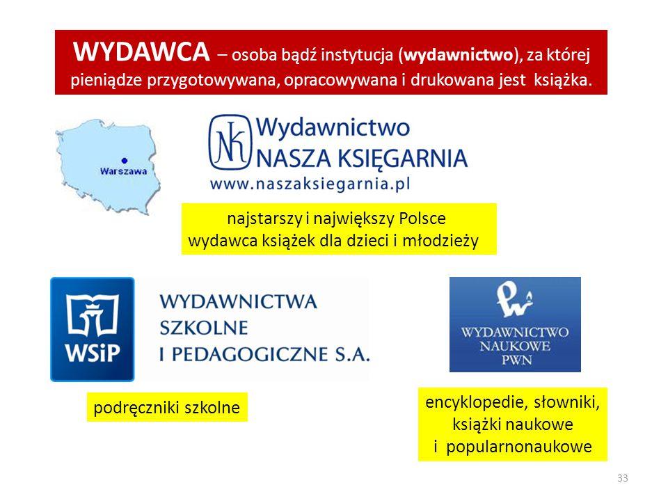 33 WYDAWCA – osoba bądź instytucja (wydawnictwo), za której pieniądze przygotowywana, opracowywana i drukowana jest książka. najstarszy i największy P