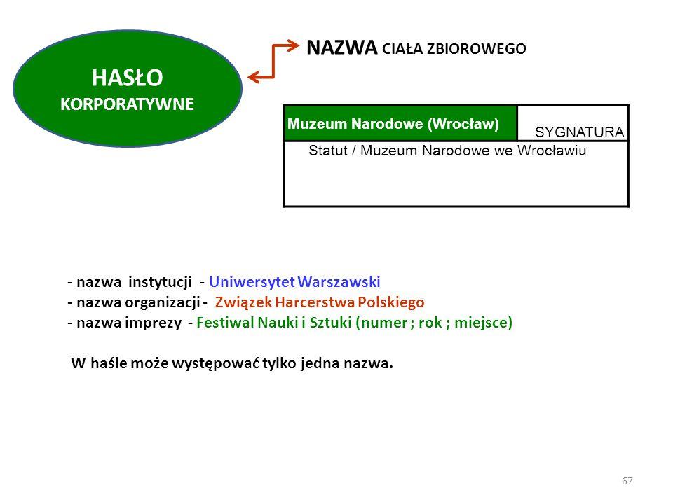- nazwa instytucji - Uniwersytet Warszawski - nazwa organizacji - Związek Harcerstwa Polskiego - nazwa imprezy - Festiwal Nauki i Sztuki (numer ; rok