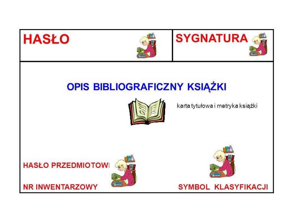 HASŁO SYGNATURA OPIS BIBLIOGRAFICZNY KSIĄŻKI karta tytułowa i metryka książki HASŁO PRZEDMIOTOWE NR INWENTARZOWY SYMBOL KLASYFIKACJI