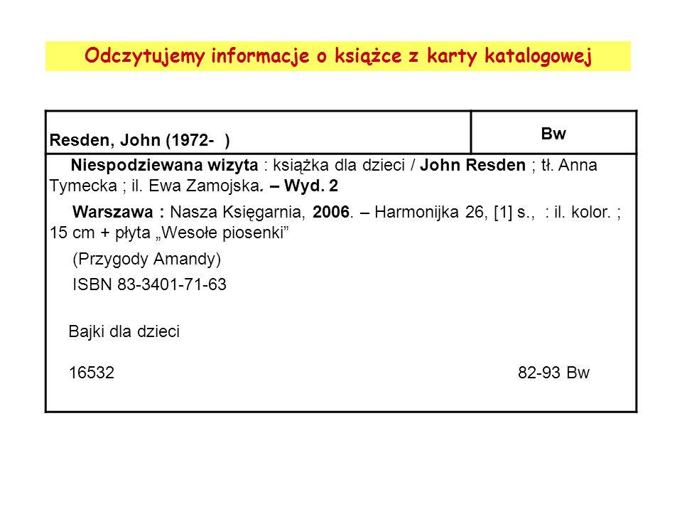 Odczytujemy informacje o książce z karty katalogowej Resden, John (1972- ) Bw Niespodziewana wizyta : książka dla dzieci / John Resden ; tł. Anna Tyme