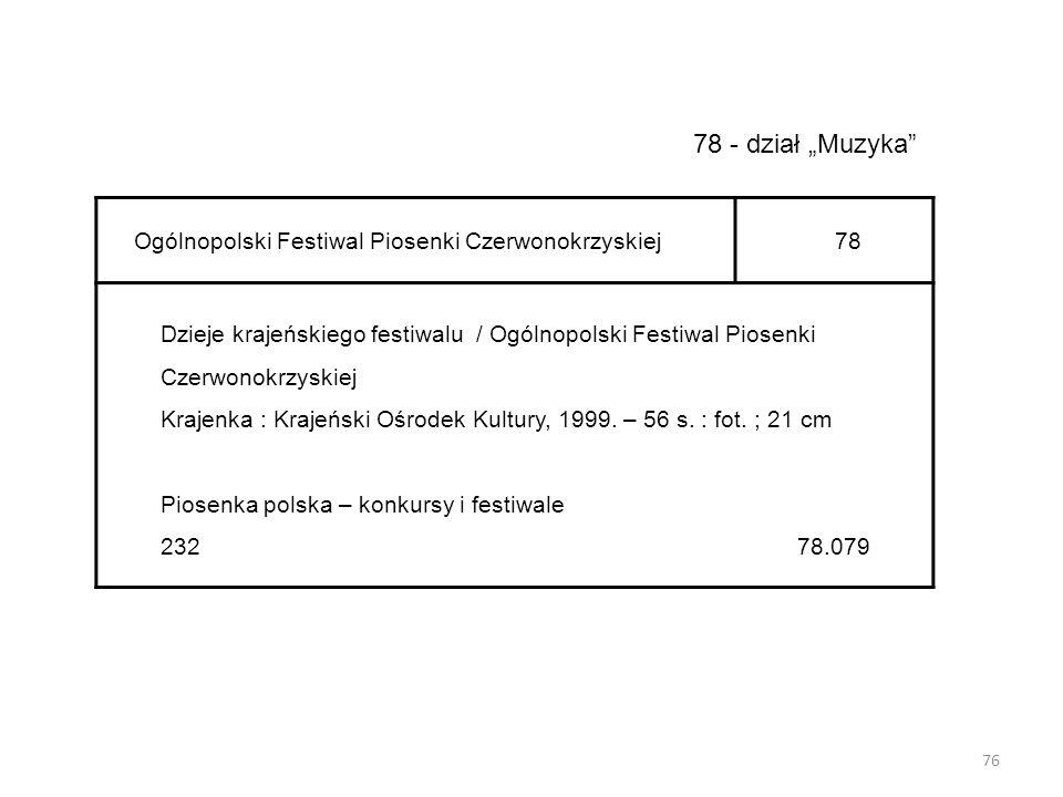 """76 78 - dział """"Muzyka"""" Ogólnopolski Festiwal Piosenki Czerwonokrzyskiej78 Dzieje krajeńskiego festiwalu / Ogólnopolski Festiwal Piosenki Czerwonokrzys"""
