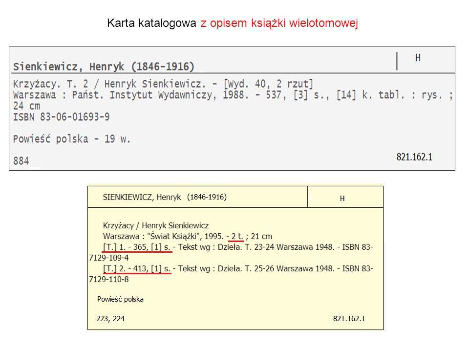 Karta katalogowa z opisem książki wielotomowej
