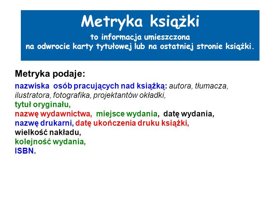 Bibliografia Lenartowicz M.Przepisy katalogowania książek.