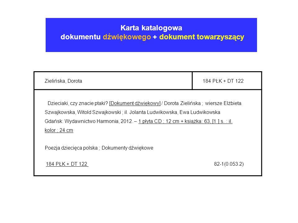 Karta katalogowa dokumentu dźwiękowego + dokument towarzyszący Zielińska, Dorota184 PŁK + DT 122 Dzieciaki, czy znacie ptaki? [Dokument dźwiękowy] / D