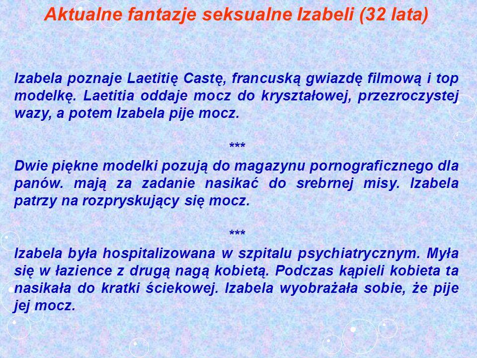 Aktualne fantazje seksualne Izabeli (32 lata) Izabela poznaje Laetitię Castę, francuską gwiazdę filmową i top modelkę. Laetitia oddaje mocz do kryszta