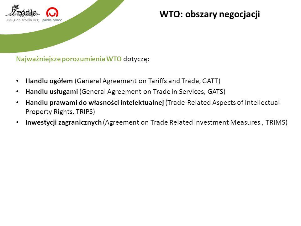 eduglob.zrodla.org Najważniejsze porozumienia WTO dotyczą: Handlu ogółem (General Agreement on Tariffs and Trade, GATT) Handlu usługami (General Agree