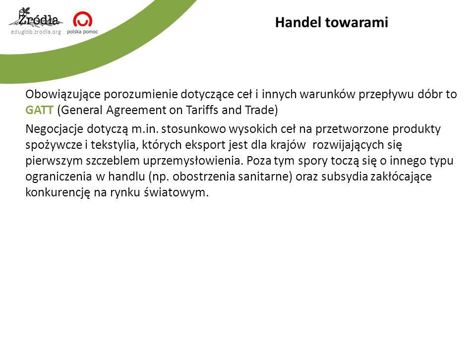 eduglob.zrodla.org Obowiązujące porozumienie dotyczące ceł i innych warunków przepływu dóbr to GATT (General Agreement on Tariffs and Trade) Negocjacj