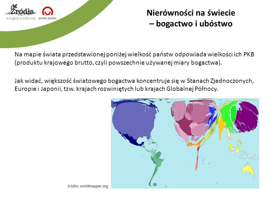 eduglob.zrodla.org Na mapie świata przedstawionej poniżej wielkość państw odpowiada wielkości ich PKB (produktu krajowego brutto, czyli powszechnie uż