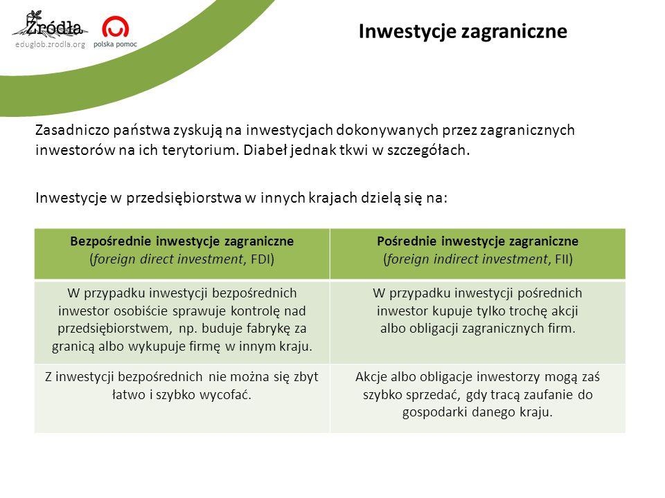 eduglob.zrodla.org Zasadniczo państwa zyskują na inwestycjach dokonywanych przez zagranicznych inwestorów na ich terytorium. Diabeł jednak tkwi w szcz
