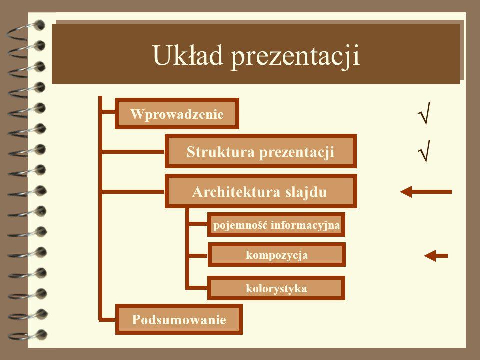 Pojemność informacyjna Obiekty graficzne Liczba zdjęć, rysunków, wykresów, schematów tabel na powierzchni ekranu nie powinna przekraczać 6.