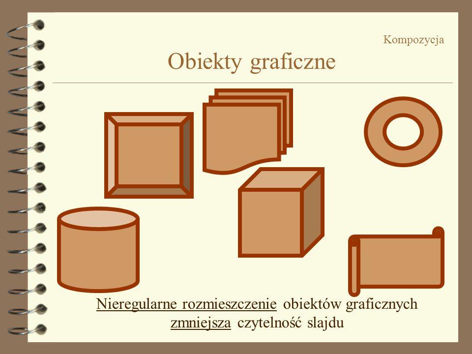 Kompozycja Obiekty graficzne Regularne rozmieszczenie obiektów graficznych zwiększa czytelność slajdu