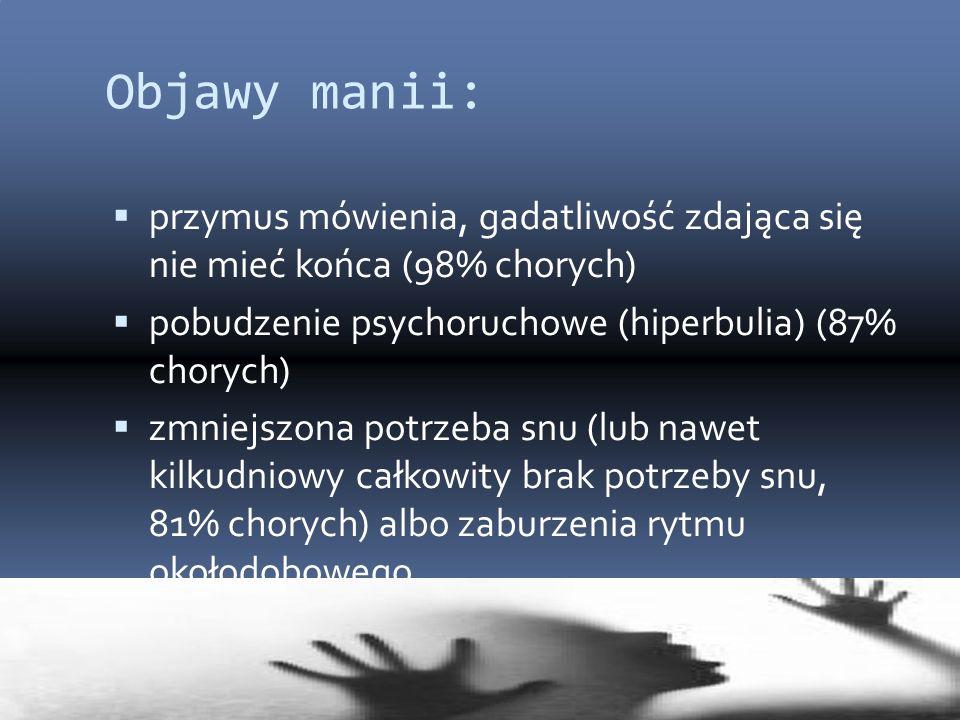 Objawy manii:  przymus mówienia, gadatliwość zdająca się nie mieć końca (98% chorych)  pobudzenie psychoruchowe (hiperbulia) (87% chorych)  zmniejs
