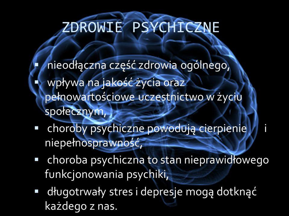  nieodłączna część zdrowia ogólnego,  wpływa na jakość życia oraz pełnowartościowe uczestnictwo w życiu społecznym,  choroby psychiczne powodują ci