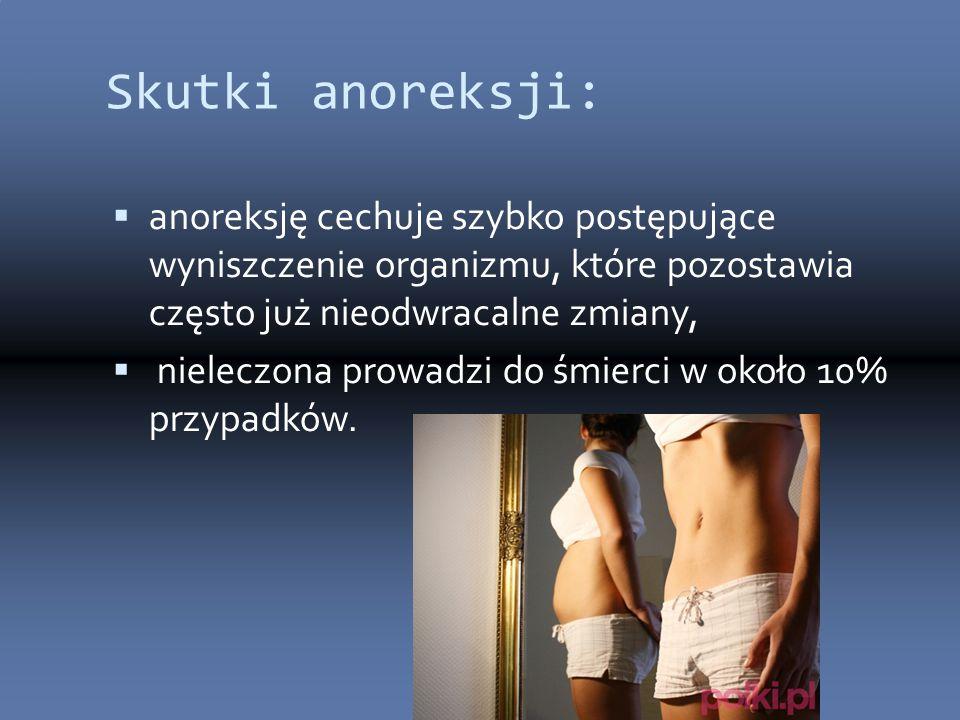 Skutki anoreksji:  anoreksję cechuje szybko postępujące wyniszczenie organizmu, które pozostawia często już nieodwracalne zmiany,  nieleczona prowadzi do śmierci w około 10% przypadków.