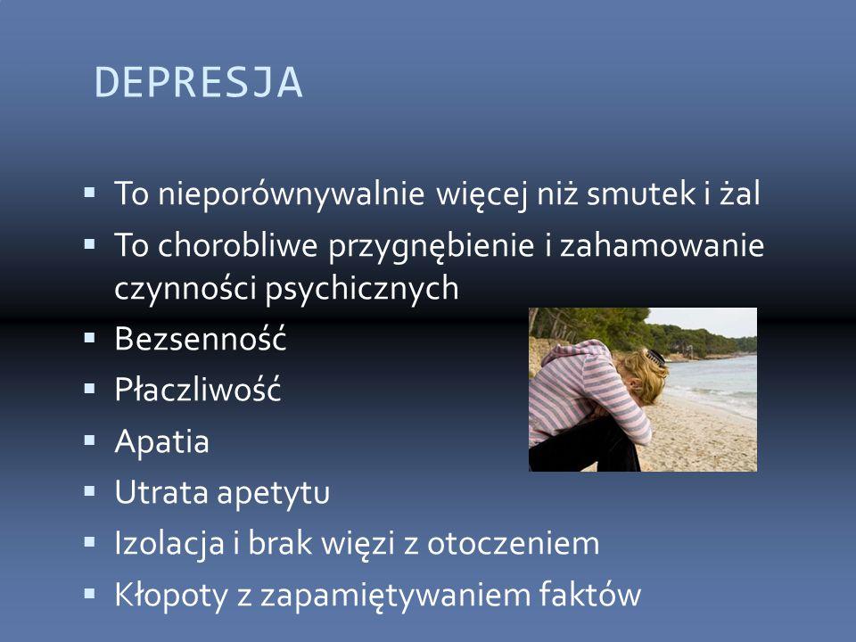 DEPRESJA  To nieporównywalnie więcej niż smutek i żal  To chorobliwe przygnębienie i zahamowanie czynności psychicznych  Bezsenność  Płaczliwość 