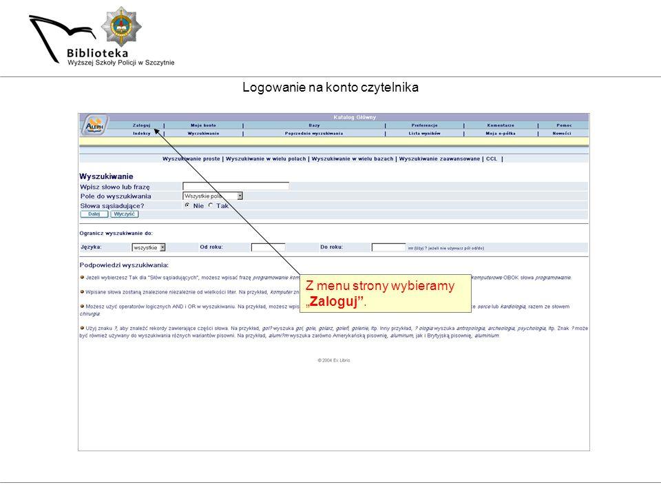 Wpisujemy login i hasło korzystając z podpowiedzi wyświetlonych na ekranie