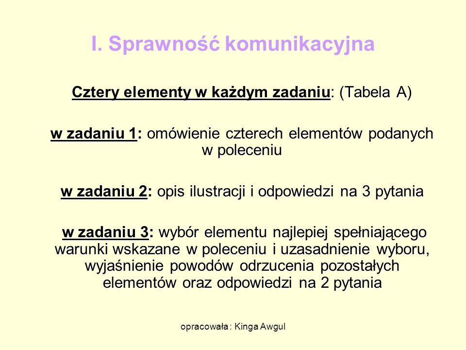 opracowała : Kinga Awgul I. Sprawność komunikacyjna Cztery elementy w każdym zadaniu: (Tabela A) w zadaniu 1: omówienie czterech elementów podanych w