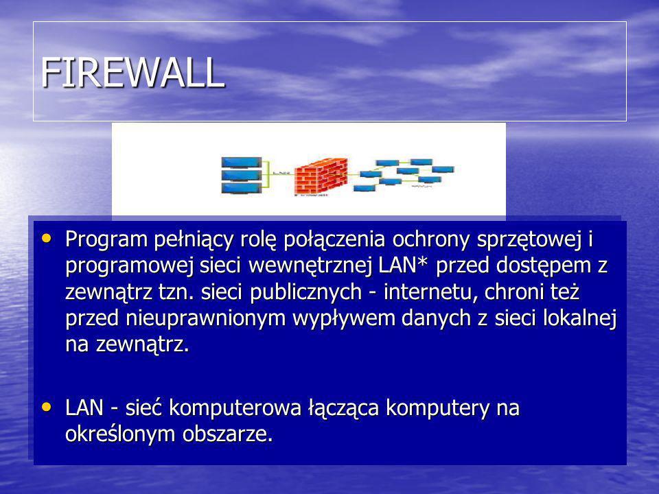FIREWALL Program pełniący rolę połączenia ochrony sprzętowej i programowej sieci wewnętrznej LAN* przed dostępem z zewnątrz tzn.