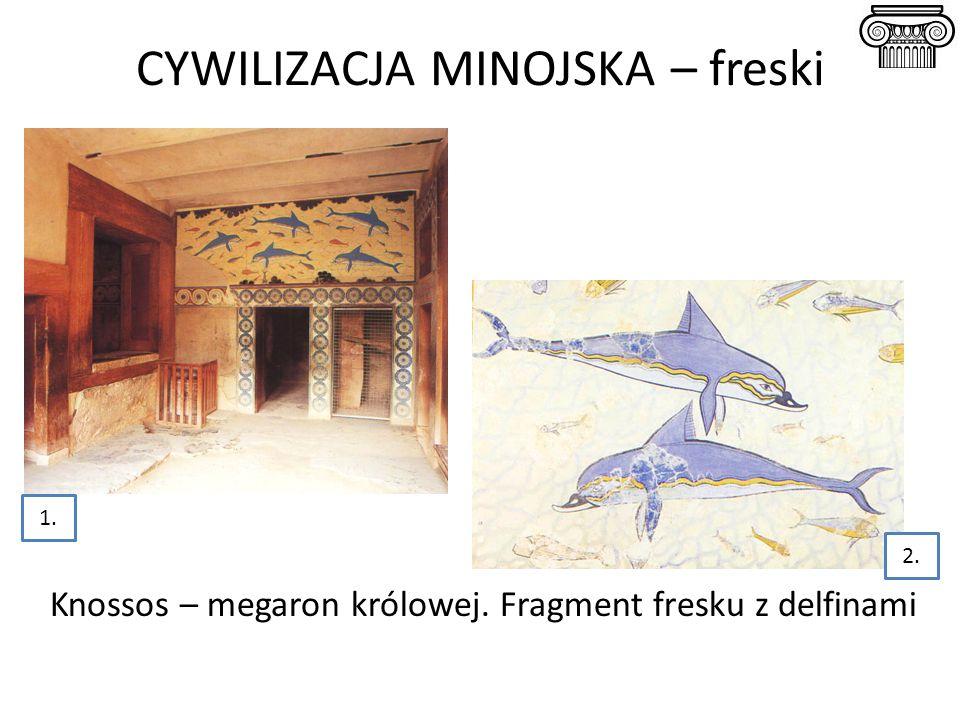 CYWILIZACJA MINOJSKA – freski Knossos – megaron królowej. Fragment fresku z delfinami 1. 2.