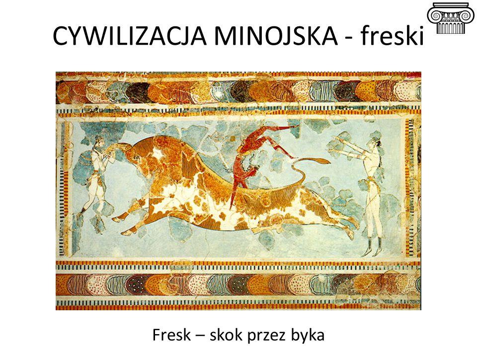 CYWILIZACJA MINOJSKA - freski Fresk – skok przez byka