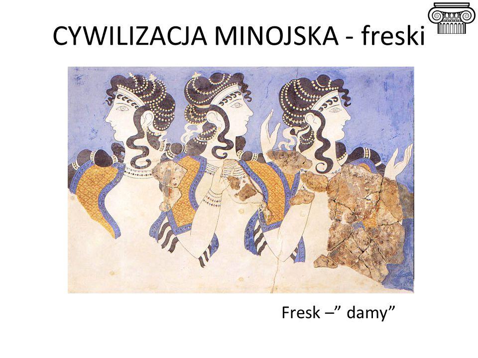 """CYWILIZACJA MINOJSKA - freski Fresk –"""" damy"""""""