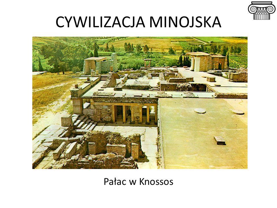 CYWILIZACJA MYKEŃSKA Megaron w Mykenach (rekonstrukcja) Charakterystyczny jednoizbowy budynek służący celom reprezentacyjnym lub kultowym, którego cechą jest przedsionek i 4 kolumny podtrzymujące strop.
