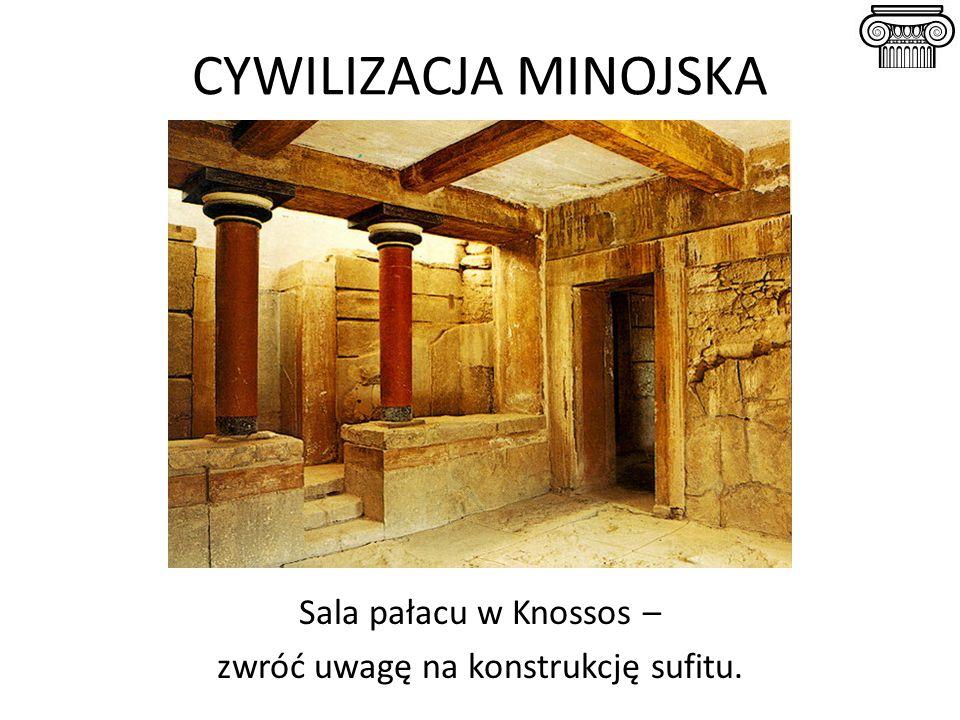CYWILIZACJA MINOJSKA Sala pałacu w Knossos – zwróć uwagę na konstrukcję sufitu.