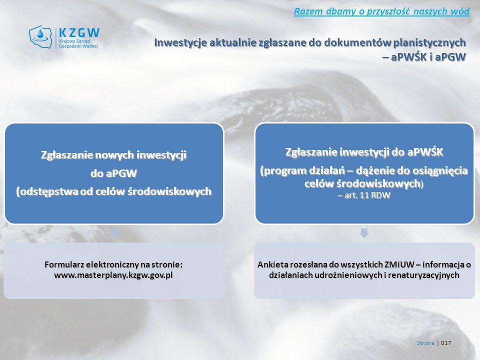Razem dbamy o przyszłość naszych wód Strona | 017 Zgłaszanie nowych inwestycji do aPGW (odstępstwa od celów środowiskowych Formularz elektroniczny na stronie: www.masterplany.kzgw.gov.pl Zgłaszanie inwestycji do aPWŚK (program działań – dążenie do osiągnięcia celów środowiskowych ) – art.