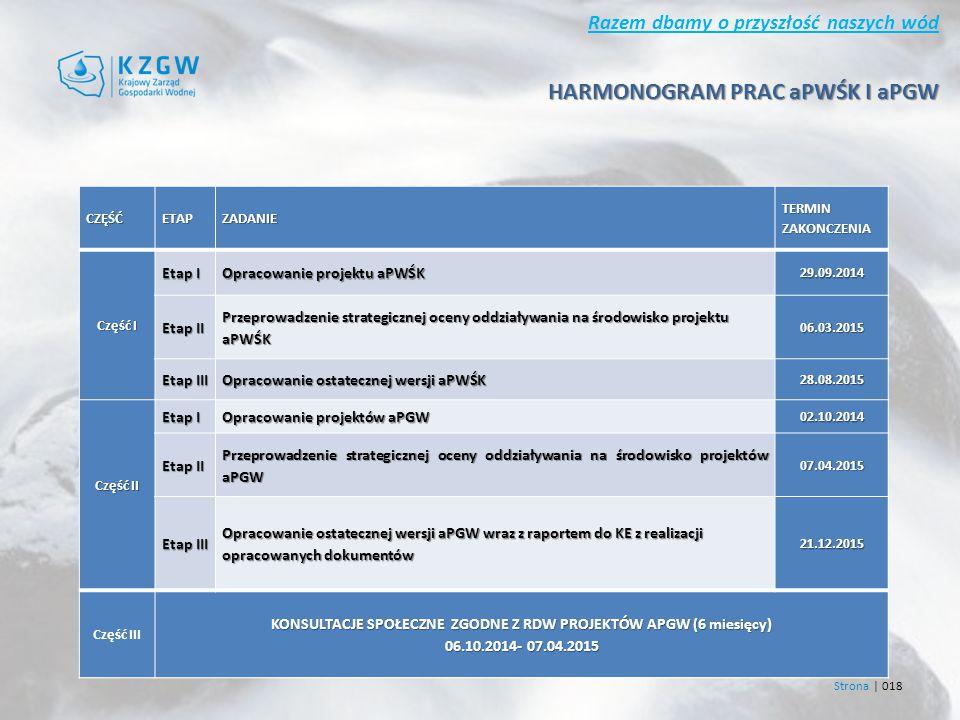 Razem dbamy o przyszłość naszych wód Strona | 018 CZĘŚĆETAPZADANIE TERMIN ZAKONCZENIA Część I Etap I Opracowanie projektu aPWŚK 29.09.2014 Etap II Przeprowadzenie strategicznej oceny oddziaływania na środowisko projektu aPWŚK 06.03.2015 Etap III Opracowanie ostatecznej wersji aPWŚK 28.08.2015 Część II Etap I Opracowanie projektów aPGW 02.10.2014 Etap II Przeprowadzenie strategicznej oceny oddziaływania na środowisko projektów aPGW 07.04.2015 Etap III Opracowanie ostatecznej wersji aPGW wraz z raportem do KE z realizacji opracowanych dokumentów 21.12.2015 Część III KONSULTACJE SPOŁECZNE ZGODNE Z RDW PROJEKTÓW APGW (6 miesięcy) 06.10.2014- 07.04.2015 HARMONOGRAM PRAC aPWŚK I aPGW