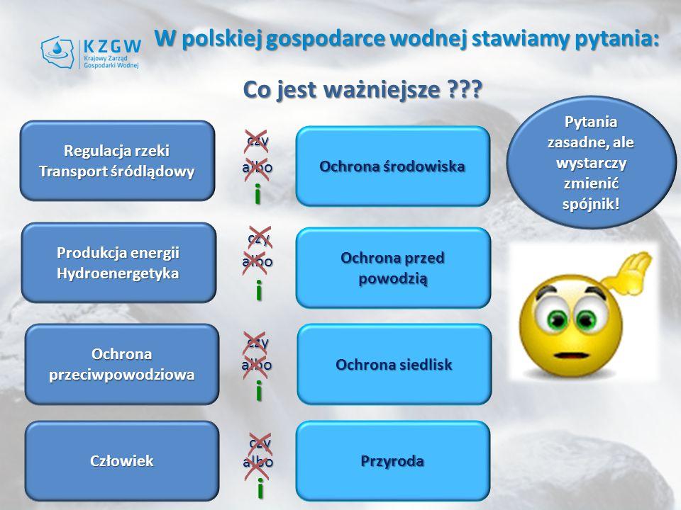W polskiej gospodarce wodnej stawiamy pytania: Co jest ważniejsze ??.