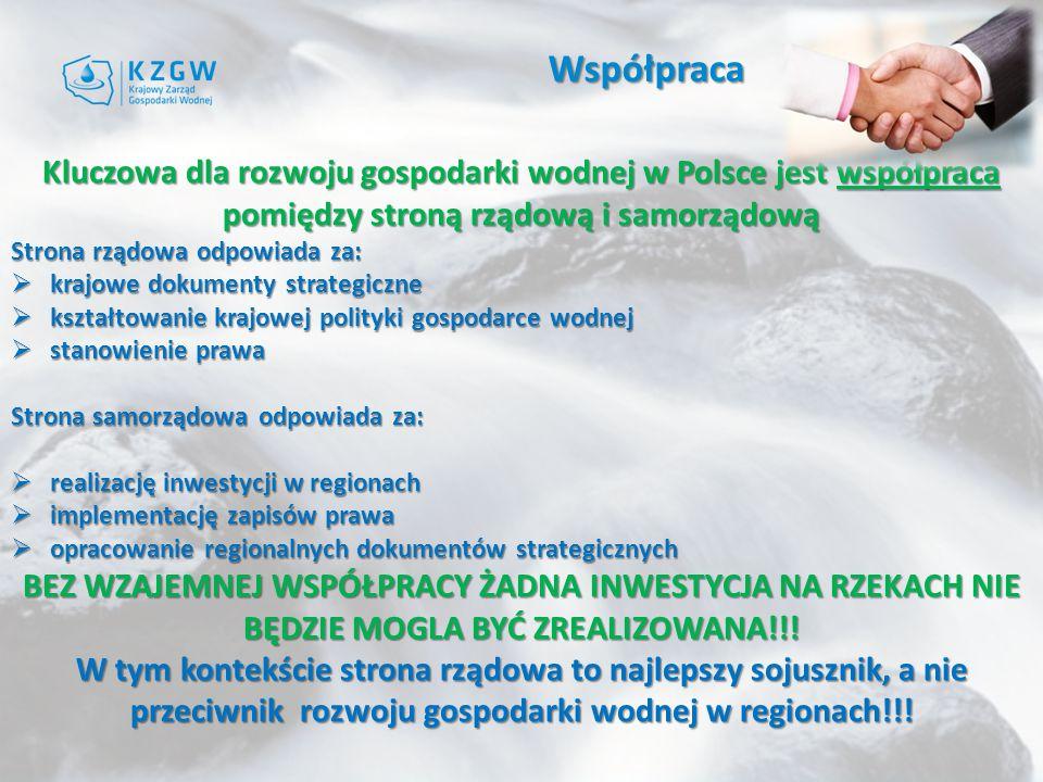 Współpraca Kluczowa dla rozwoju gospodarki wodnej w Polsce jest współpraca pomiędzy stroną rządową i samorządową Strona rządowa odpowiada za:  krajowe dokumenty strategiczne  kształtowanie krajowej polityki gospodarce wodnej  stanowienie prawa Strona samorządowa odpowiada za:  realizację inwestycji w regionach  implementację zapisów prawa  opracowanie regionalnych dokumentów strategicznych BEZ WZAJEMNEJ WSPÓŁPRACY ŻADNA INWESTYCJA NA RZEKACH NIE BĘDZIE MOGLA BYĆ ZREALIZOWANA!!.